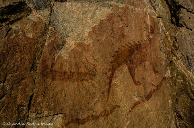Mishipeshu pictograph on Agawa Rock on Lake Superior