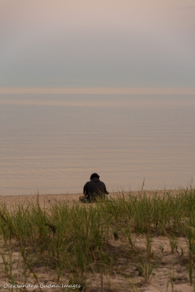 sitting on the beach at Pancake Bay on Lake Superior