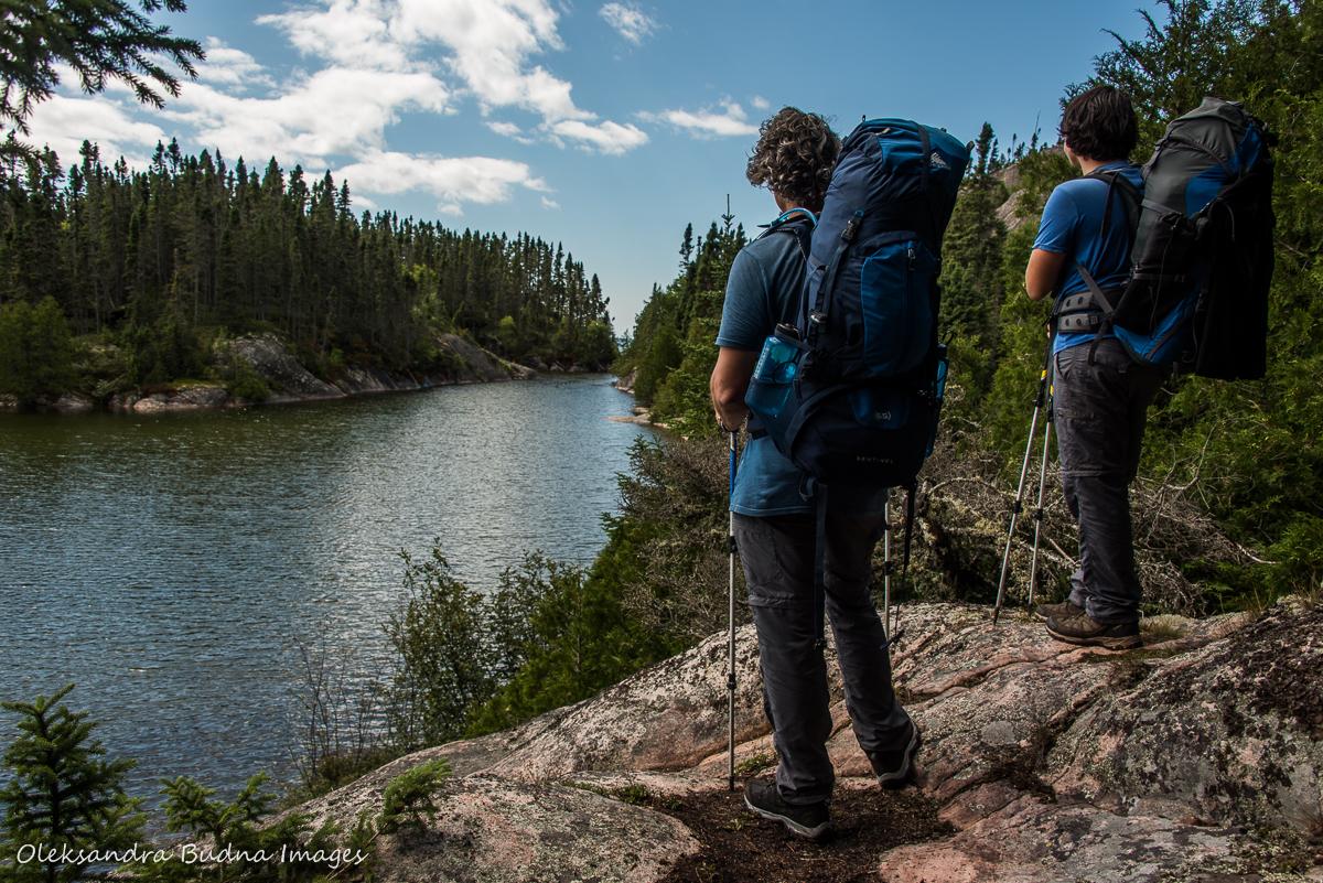 views of Lake Superior while hiking Mdaabii Miikna Trail in Pukaskwa