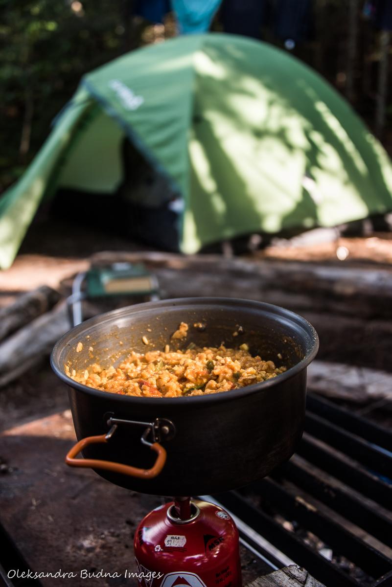 making food at site PRH5 in Pukaskwa