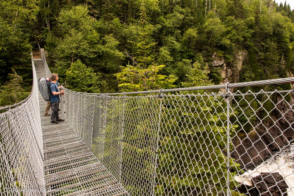suspension bridge over White River in Pukaskwa