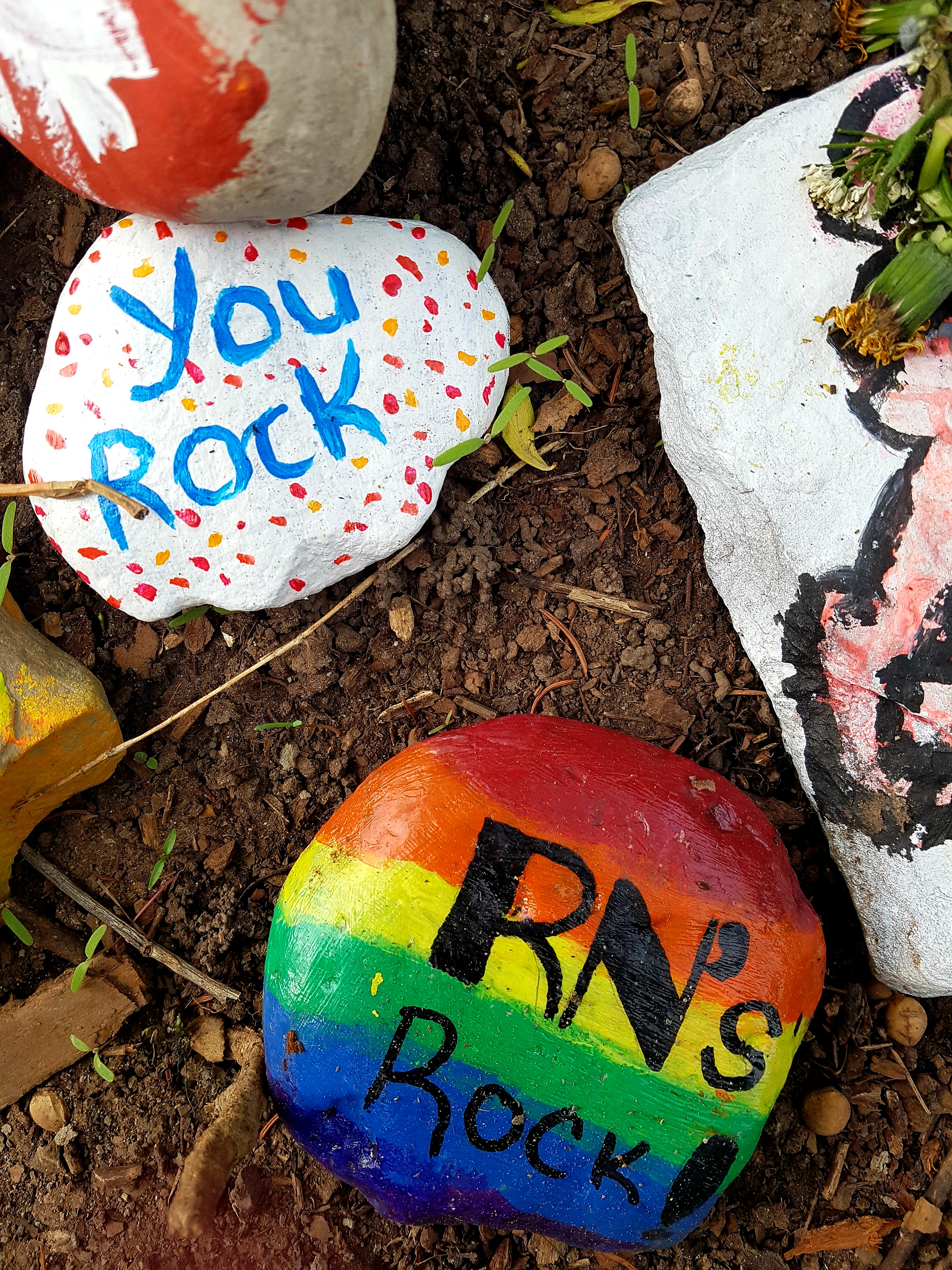 rocks painted with messages