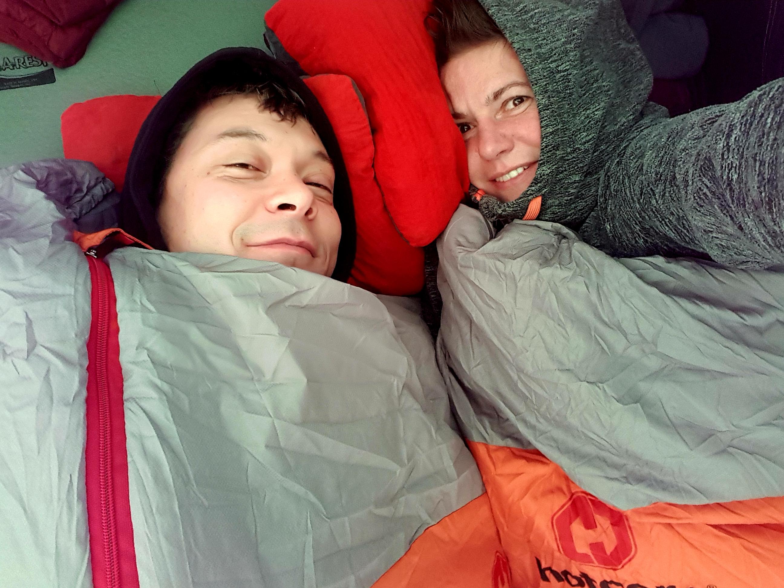 in sleeping bags