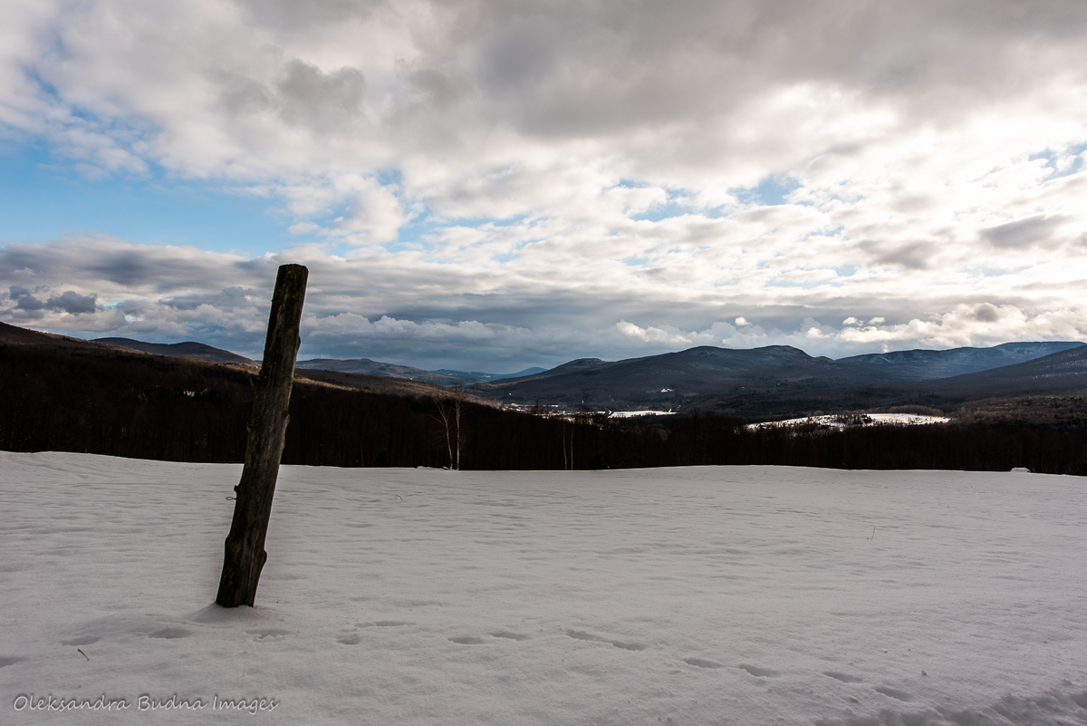 view of Green Mountains at AU Diable Vert in Quebec in the winter