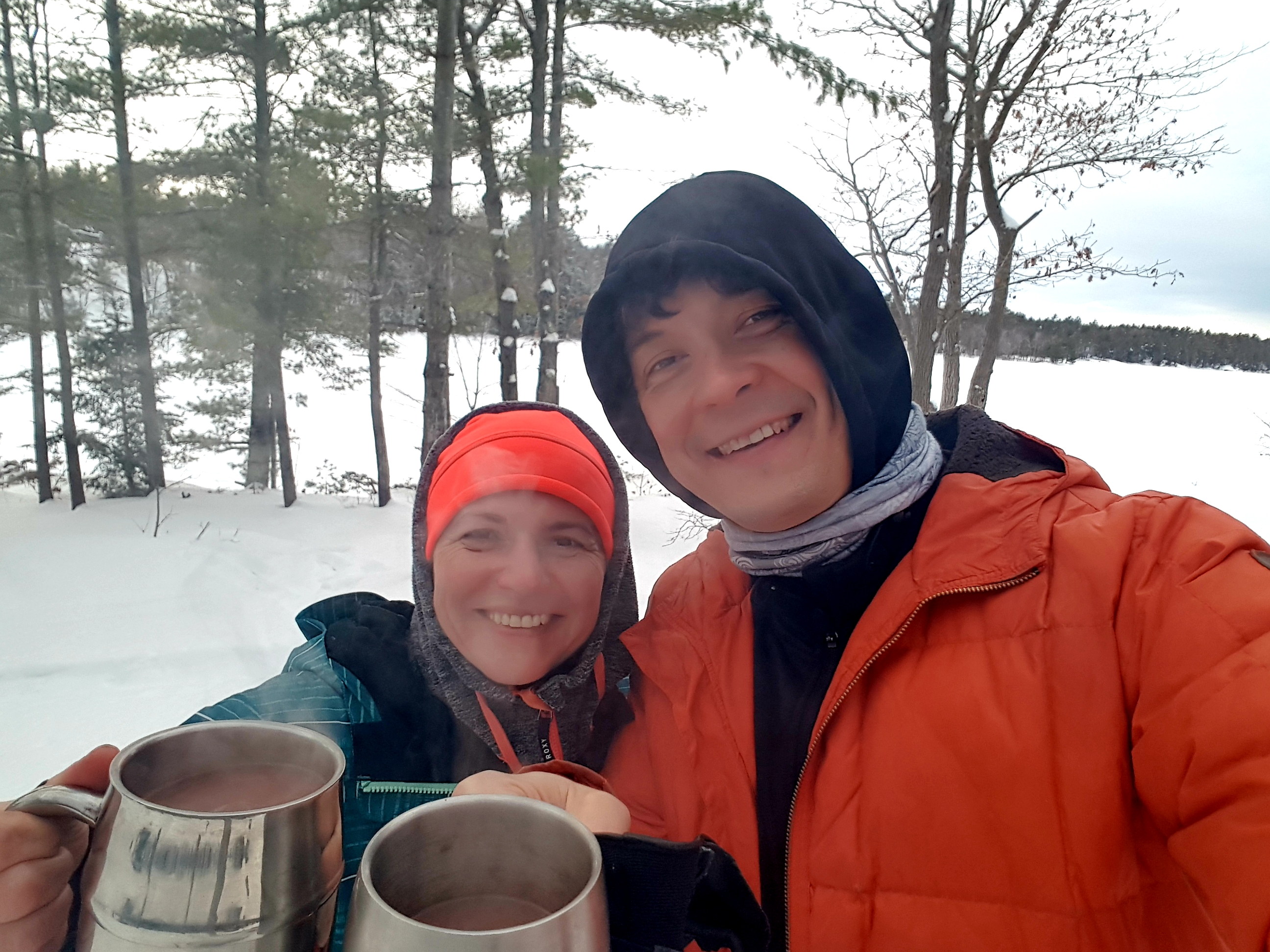drinking hot chocolate at a campsite at McCrae lake