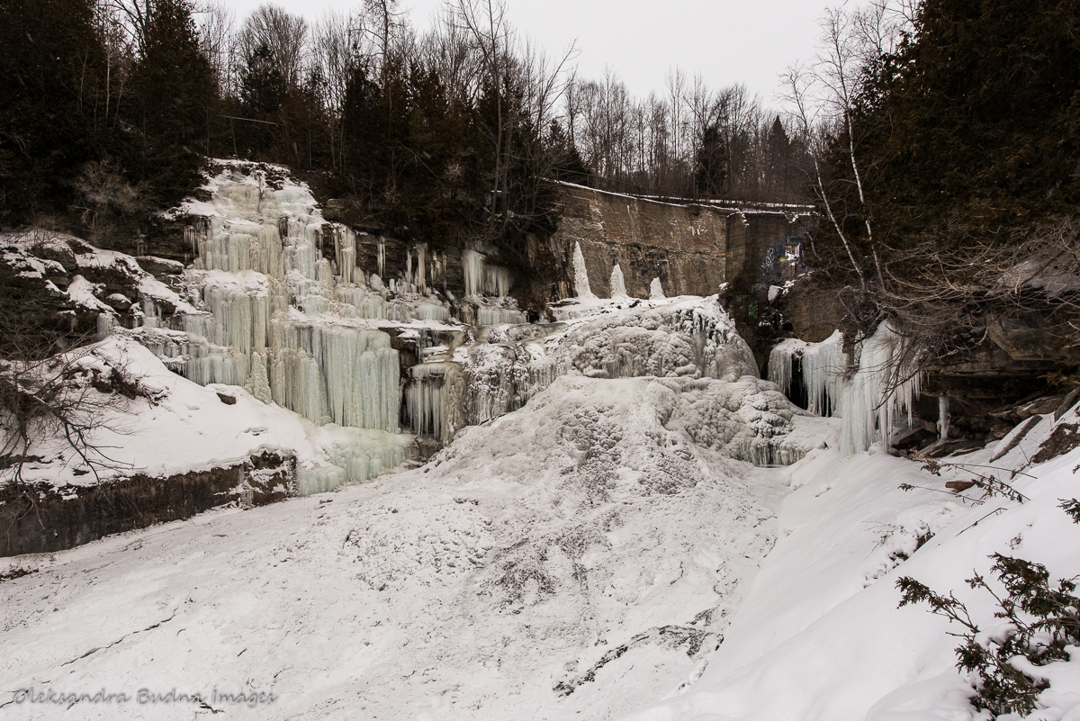Frozen waterfall at Forks of the Credit