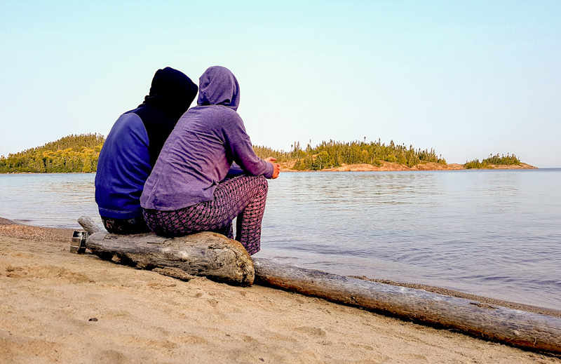 enjoying the view at Fish harbour in Pukaskwa