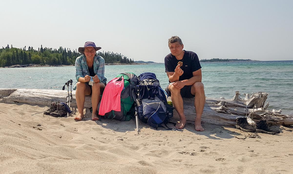 taking a break at Oiseau Bay while backpacking Coastal Hiking trail in Pukaskwa