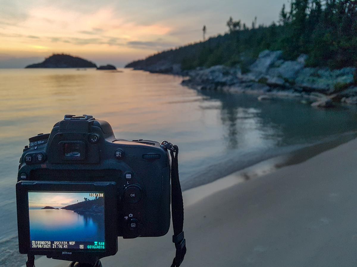 taking photos at Fisherman's Cove in Pukaskwa