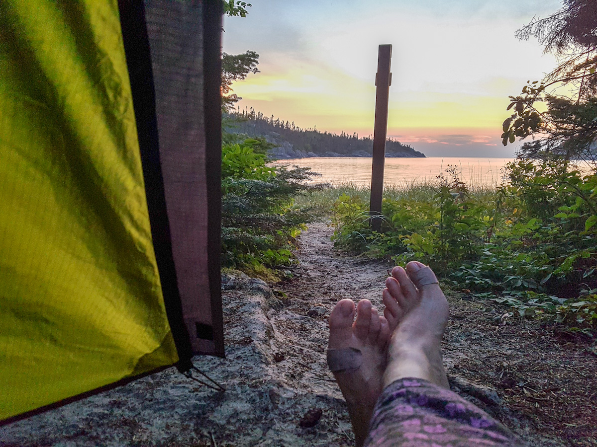 view from the tent at Fisherman's Cove in Pukaskwa