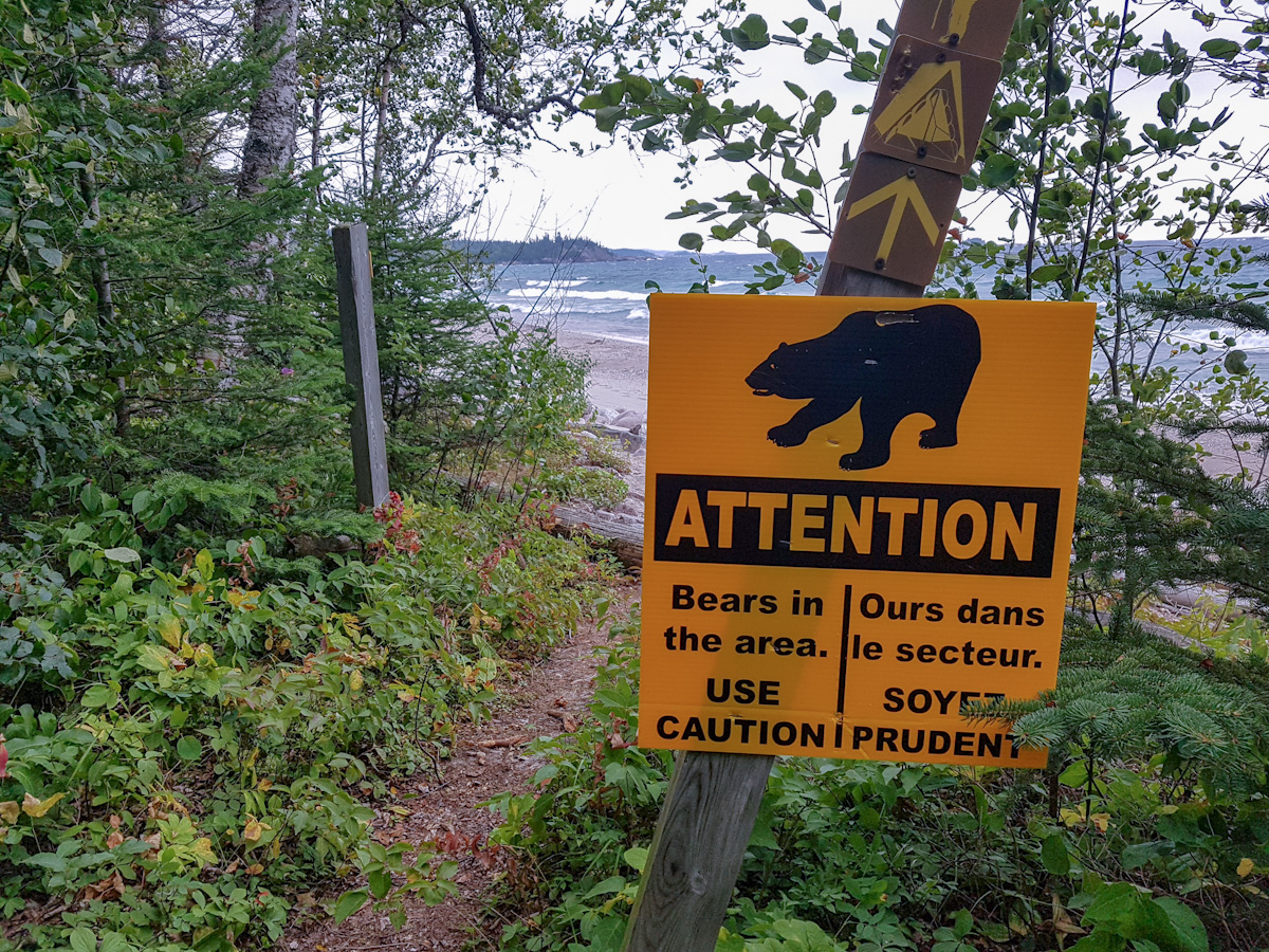 Attention Bears in the are sign at White Gravel River along the Coastal Hiking Trail in Pukaskwa