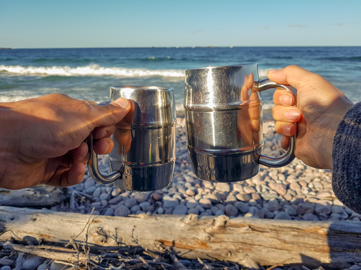 morning coffee at White Gravel River beach in Pukaskwa