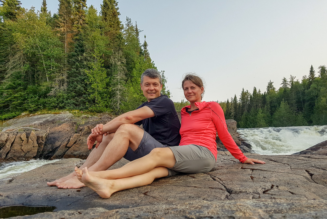 enjoying the evening at Hook Falls in Pukaskwa