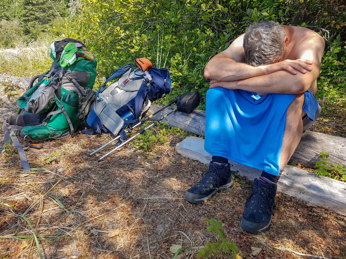 taking a break while backpacking Coastal Hiking Trail in Pukaskwa