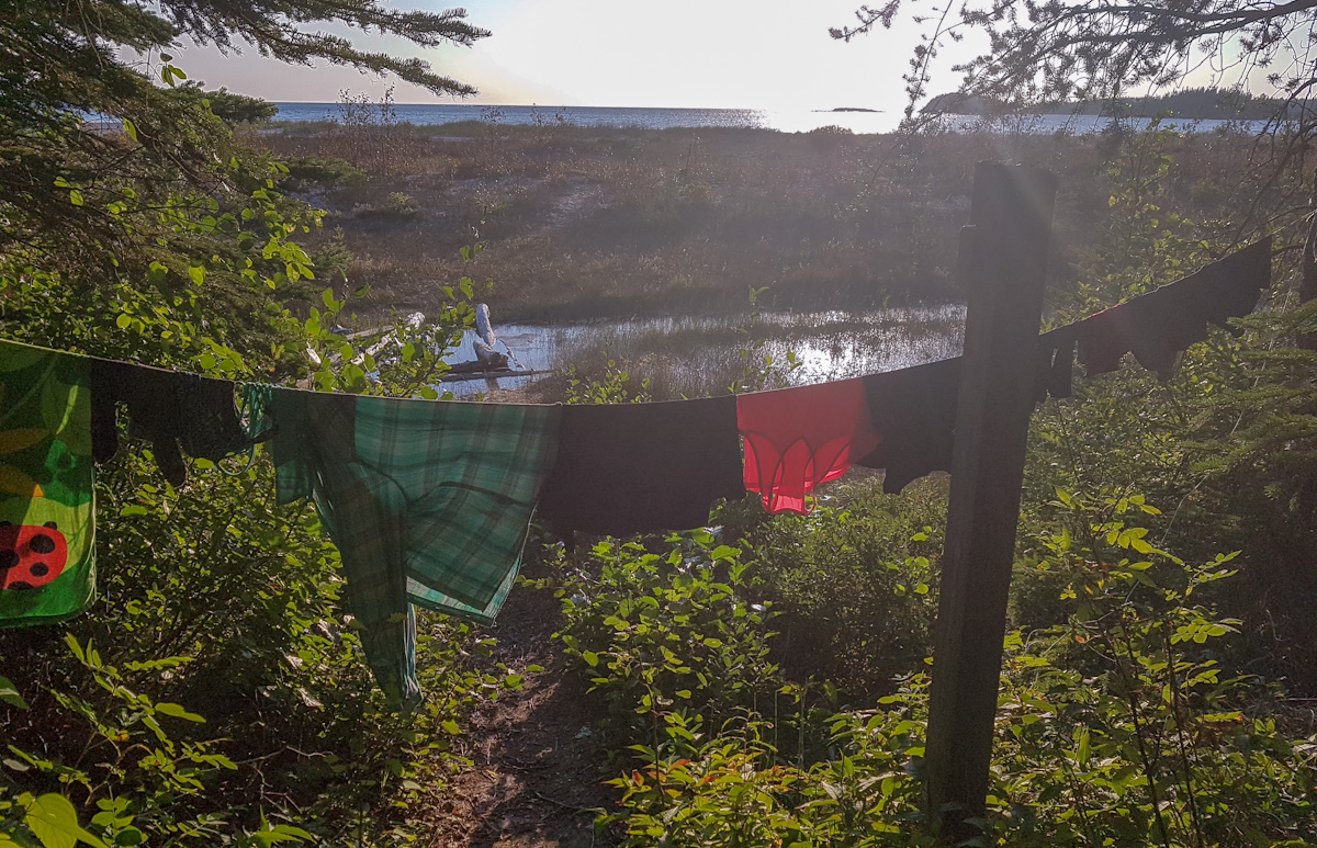 drying laundry while backpacking in Pukaskwa