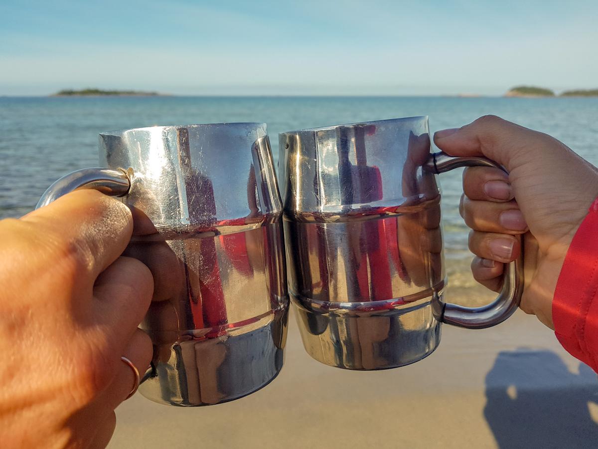 having coffee at Oiseau Bay in Pukaskwa