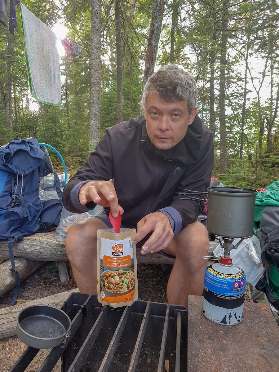 making dinner at Picture Rock Harbour South campsite in Pukaskwa