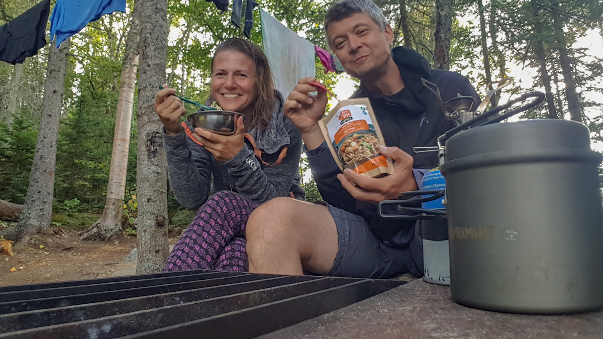 dinner at Picture Rock Harbour South campsite