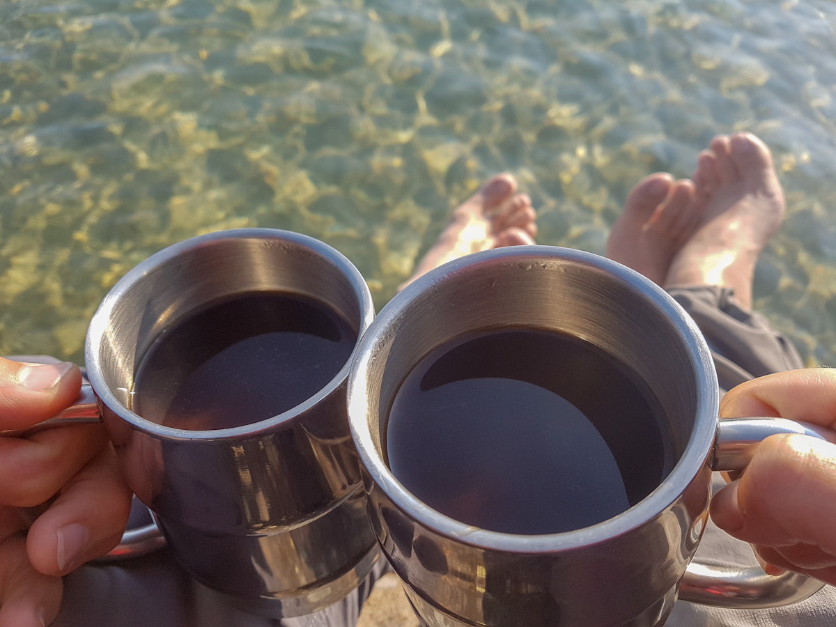 Hiking Coastal Trail at Pukaskwa: Having coffee at Picture Rock Harbour South