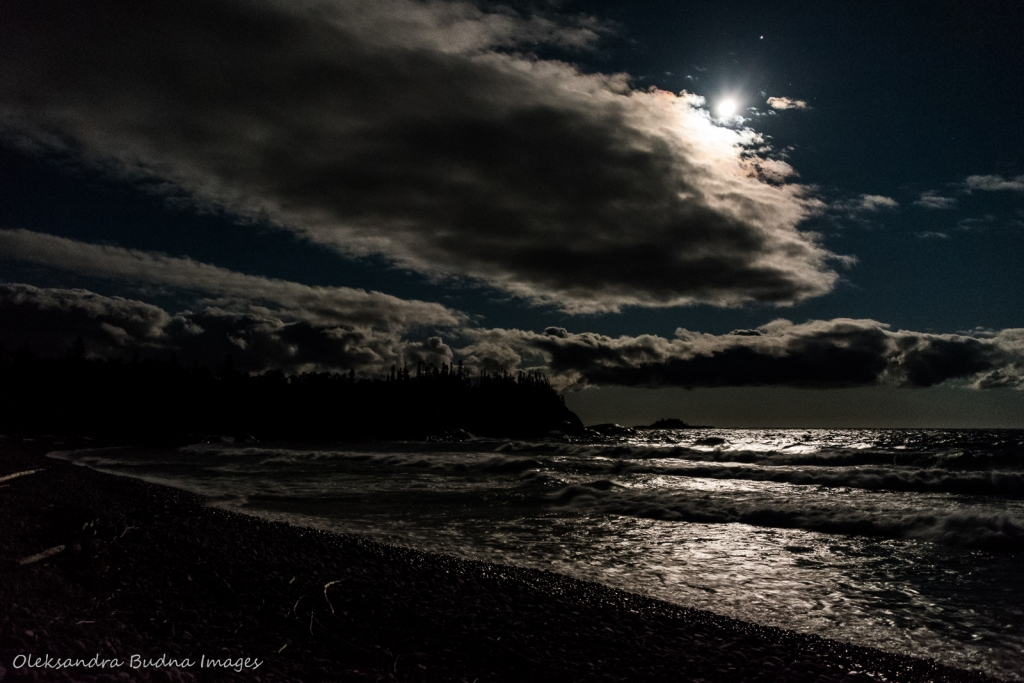Full moon over Lake Superior at White Gravel River Beach in Pukaskwa