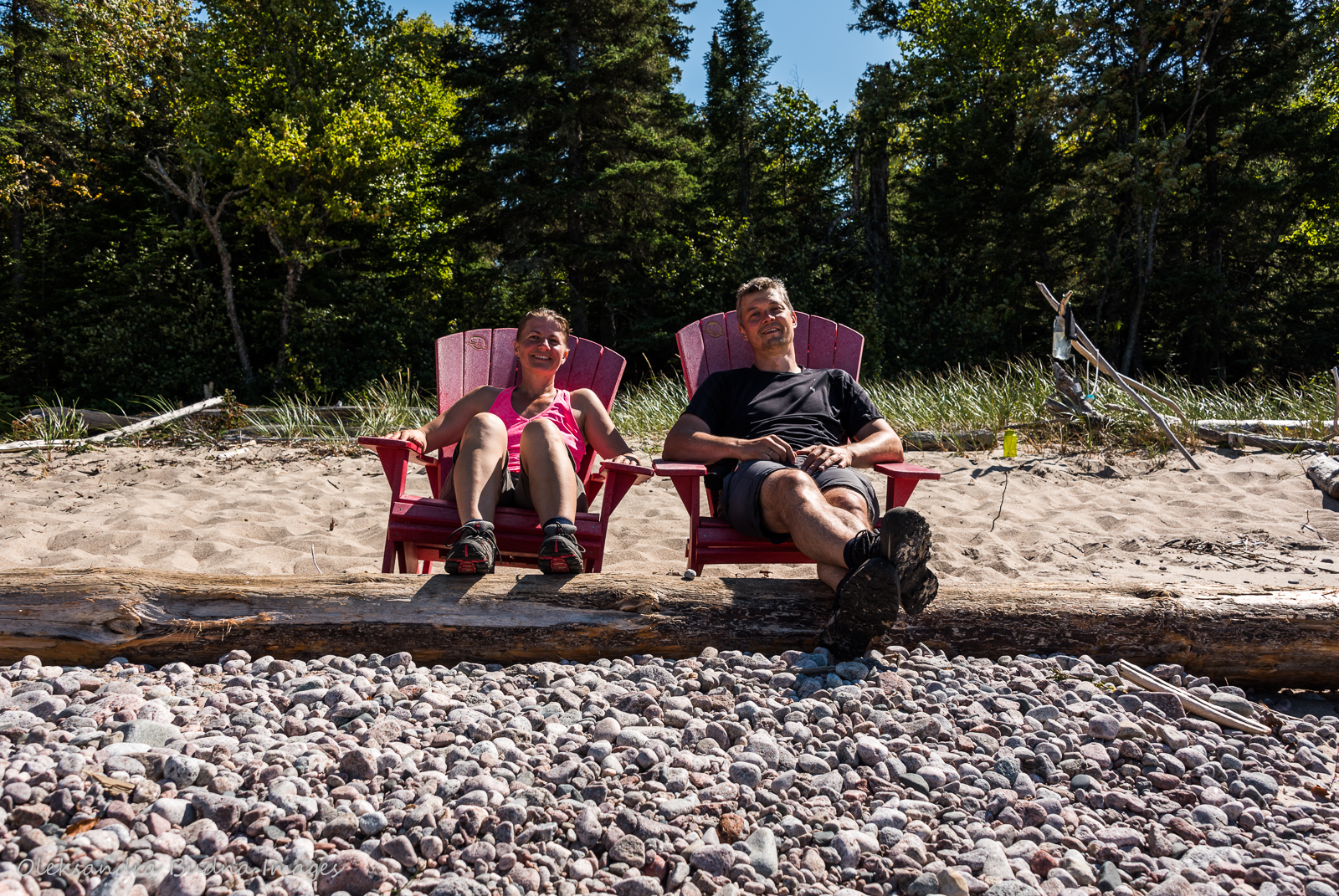 photo in Parks Canada red chairs at North Swallow River on the Coastal Hiking Trail in Pukaskwa
