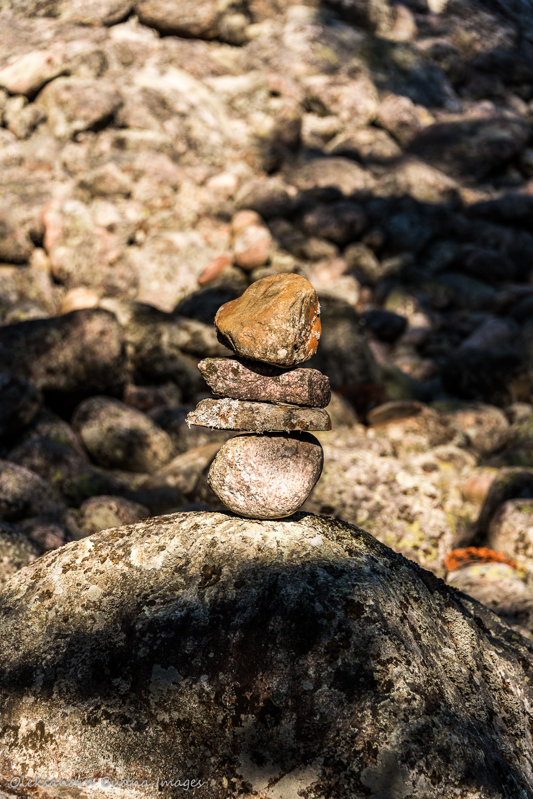 rock cairn along the Coastal Hiking Trail in Pukaskwa