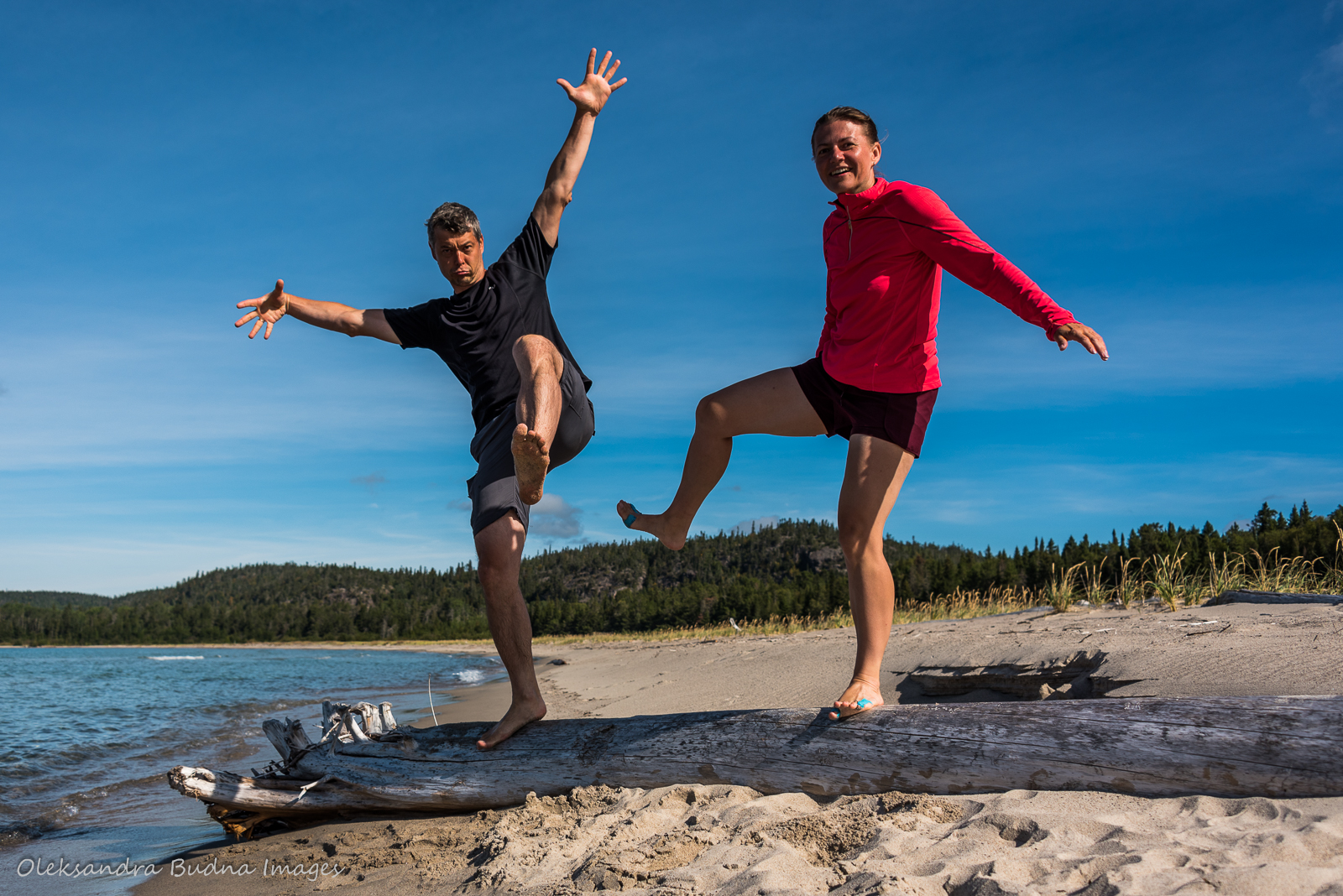 taking silly photos at Oiseau Bay in Pukaskwa