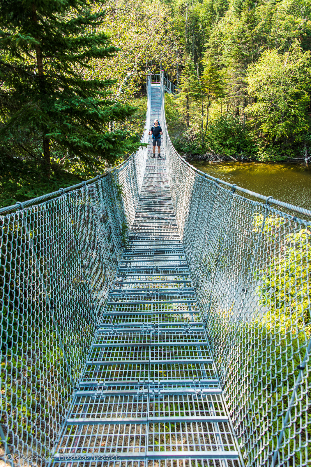Suspension bridge over Willow River along the Coastal Hiking Trail in Pukaskwa