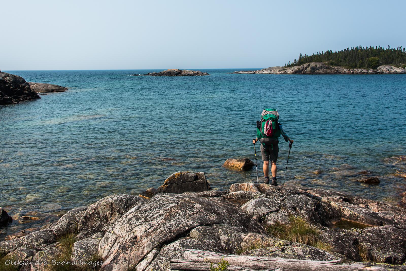 backpacking along the Lake Superior coast in Pukaskwa