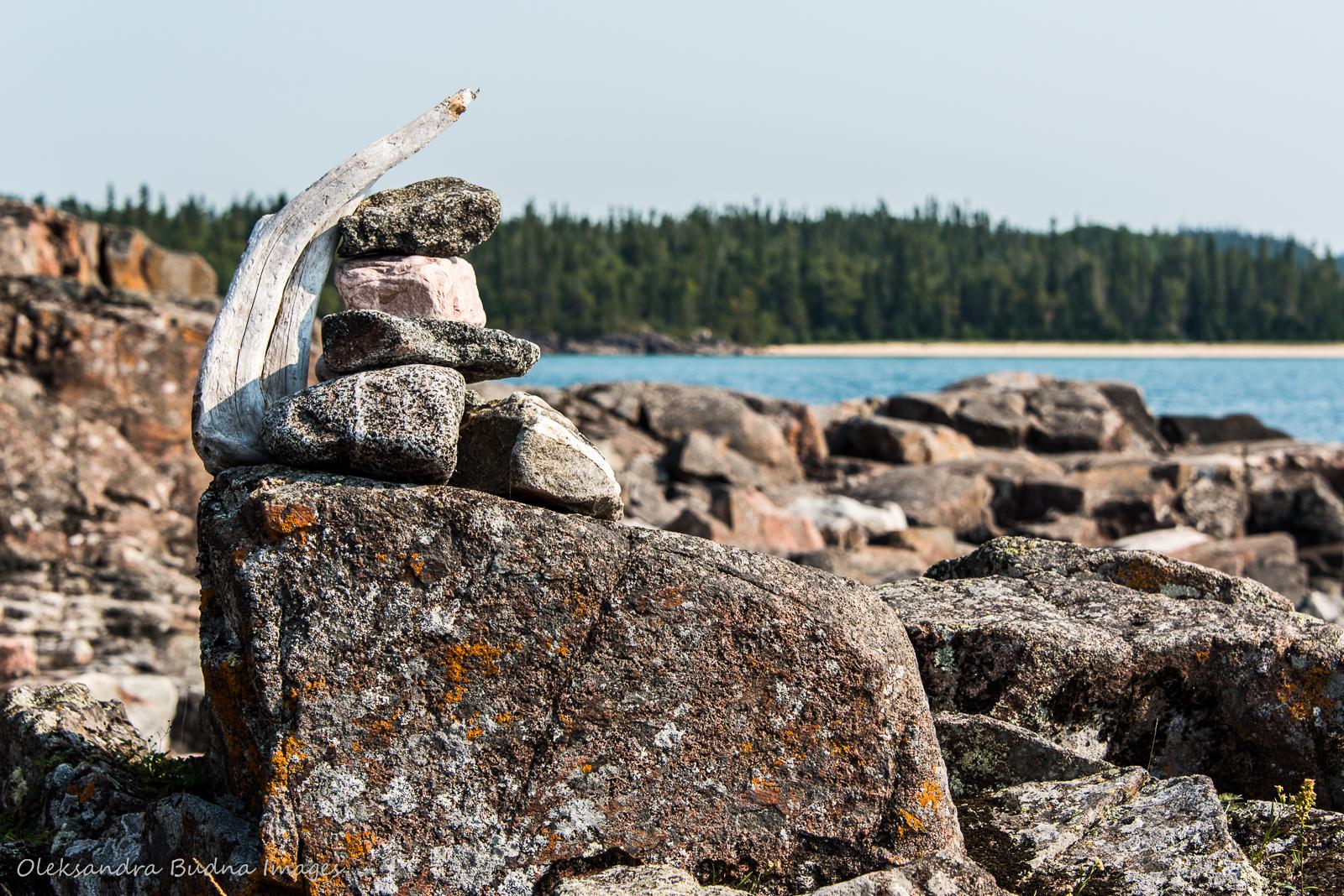 Rock cairn on Coastal Hiking Trail in Pukaskwa