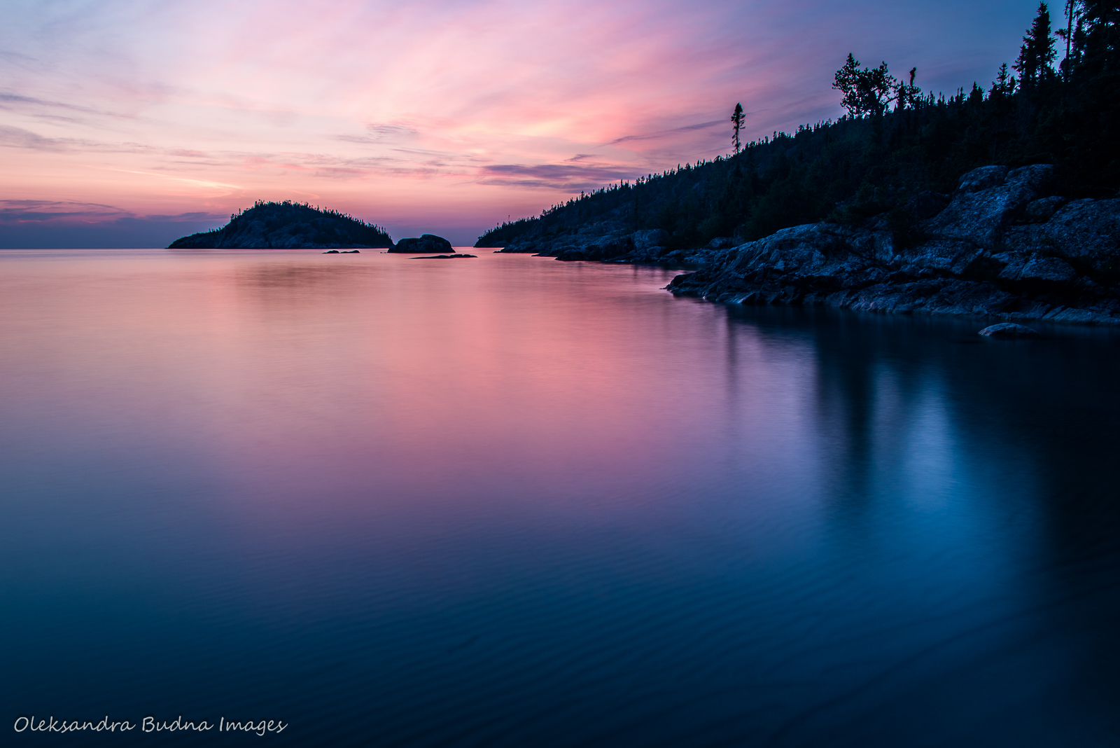 Sunset on Lake Superior at Fisherman's Cove in Pukaskwa