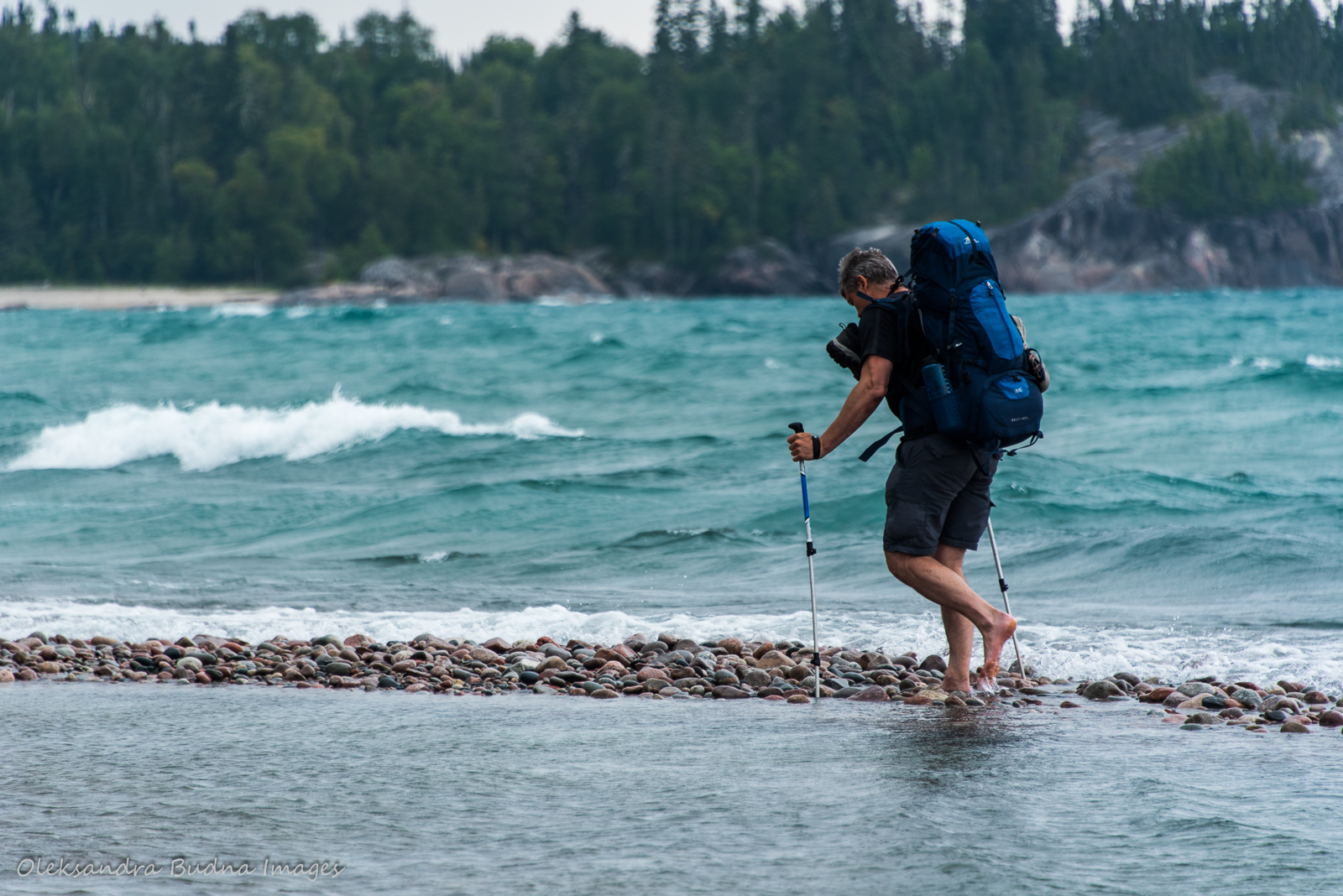 crossing White Gravel River while backpacking Coastal Hiking Trail in Pukaskwa
